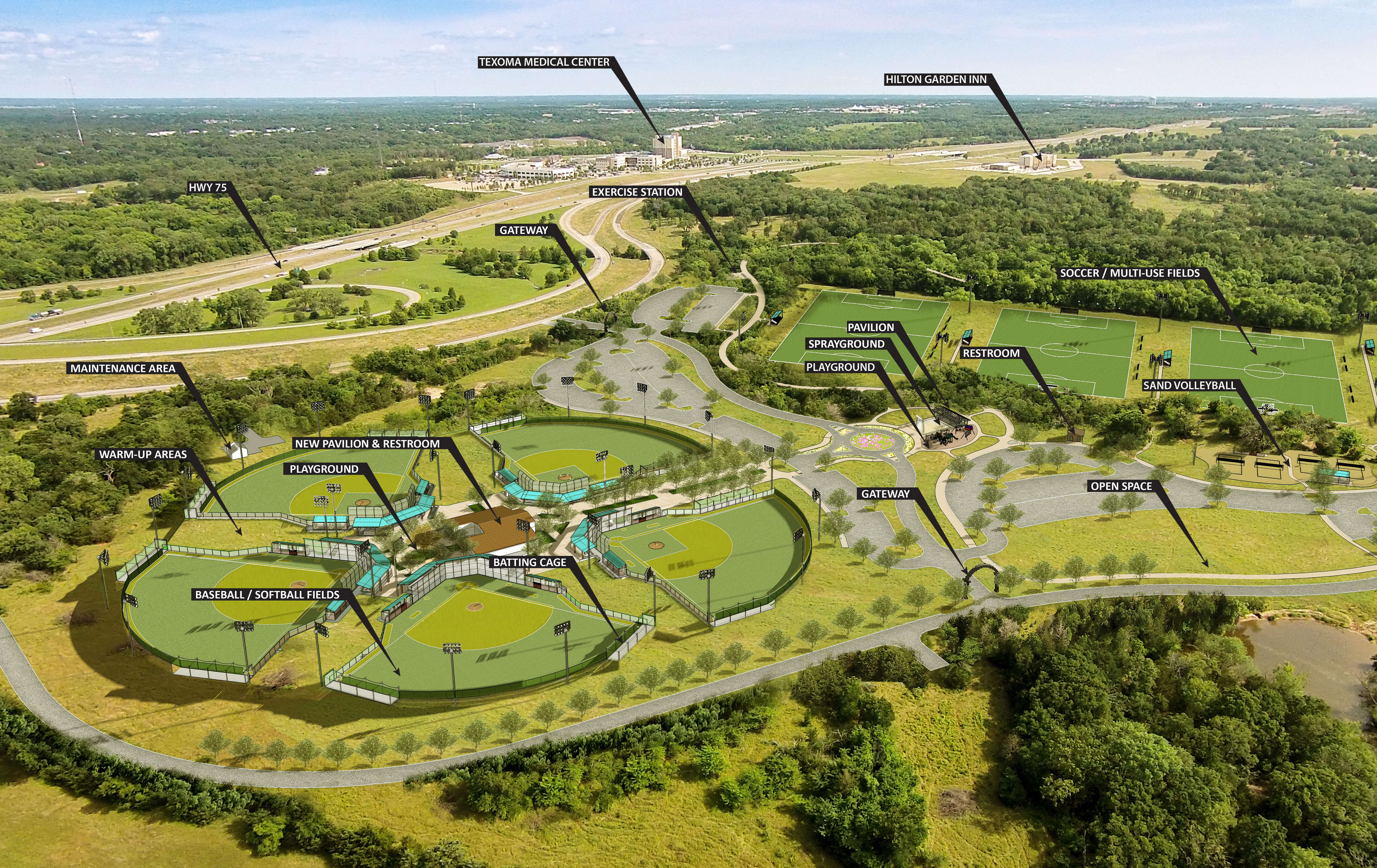 Texoma Health Foundation Park at Gateway Village 3D Render