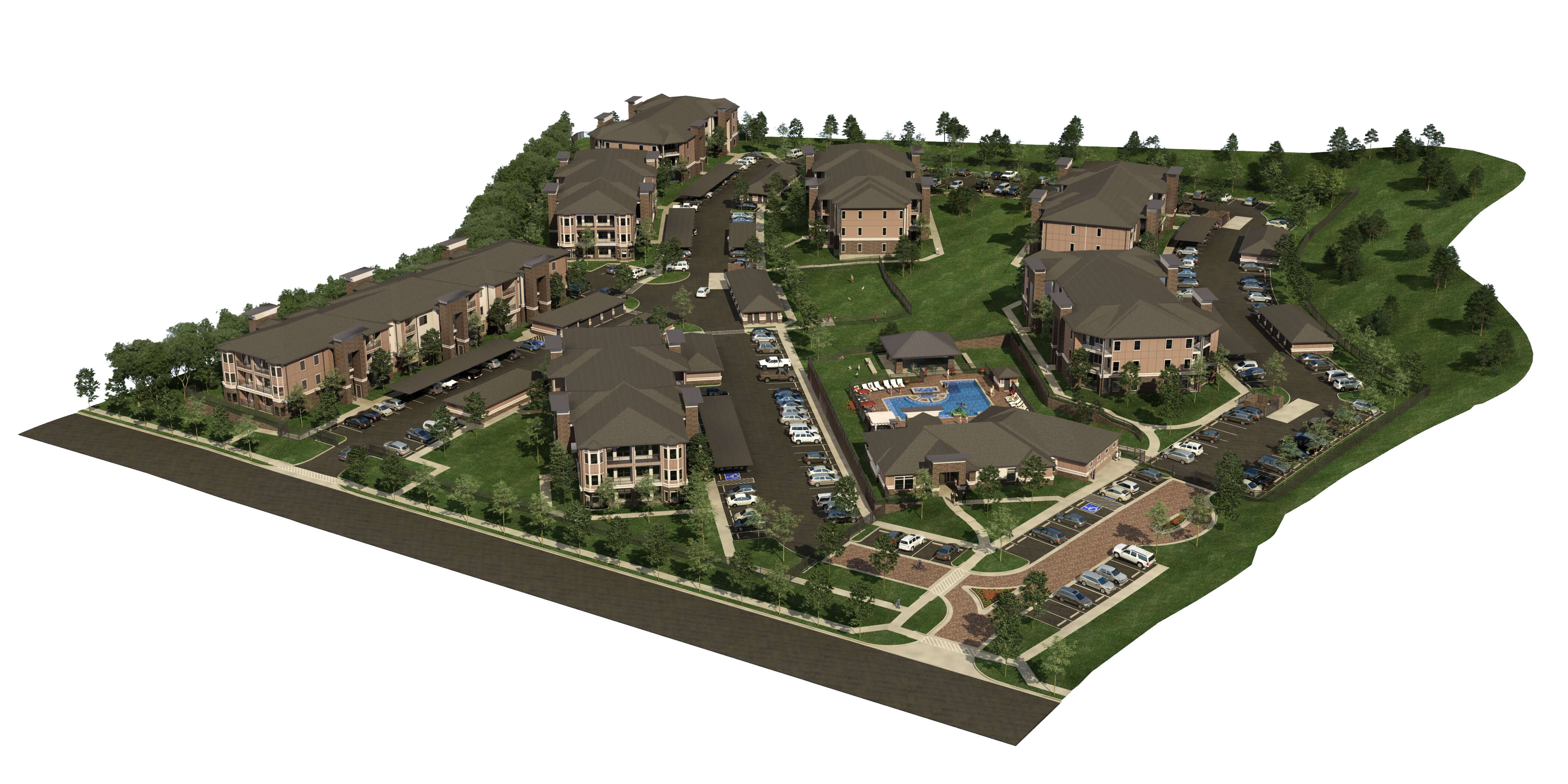 The Residence at Gateway Village Aerial 3D Render